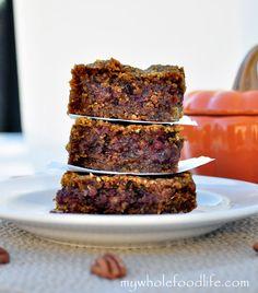 Pumpkin Pecan Caramel Bars.  Moist, gooey and totally delicious.  Vegan and gluten free.