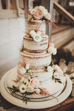 Naked Cake Sponge Layer Buttercream Flowers Casual Beach Dusky Pink Wedding…