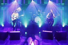 Carrie Brownstein, Katie Harkin, Janet Weiss and Corin Tucker of Sleater-Kinney perform on The Tonight Show