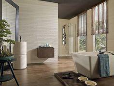 carrelage mural salle de bains à rayures 3D en beige clair