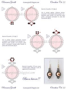 Pearl and seed bead earrings.  Needs to be translated.