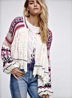 NWT Free People ivory pink purple Crochet Tassel Swing Open Cardigan Sweater L #FreePeople #swingcardigan