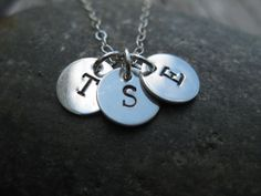 Hand Stamped Three Initial Necklace Sterling Silver Mother Grandmother Jewelry