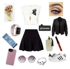 """Untitled #77"" by heyyyyangel on Polyvore featuring Miss Selfridge, adidas, Puma, GUESS, LE3NO, Monki and Forever 21"