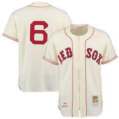 6e23800f8 Johnny Pesky 1946 Boston Red Sox Mitchell & Ness Authentic Throwback Jersey  - Cream