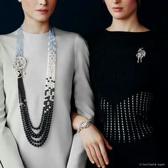 Van Cleef & Arpels jewellery and watches catalogue. Luna long necklace with detachable clip, Les Voyages Extraordinaires collection. White gold, black opal, onyx, chalcedony and moonstone beads cabochon cut sapphires and round baguette-cut pear-shaped and rose-cut diamonds. Ballerina Swan Lake clip, Ballet Preciux collection, white gold and round rose-cut diamonds.