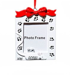 Picture Frame Christmas Holiday Cat Frame Ornament - Name Personalized