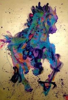 """""""Ma"""" arabian horse comes to life from Chinese character for """"horse"""" - modern painting contemporary art mixed media over canvas - IG @gabewong1"""