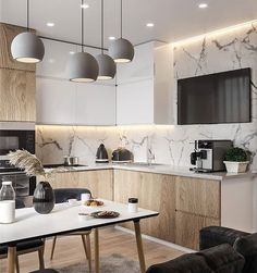 Image may contain: table and indoor Luxury Kitchen Design, Contemporary Kitchen Design, Best Kitchen Designs, Bathroom Interior Design, Kitchen Interior, Living Room Kitchen, Home Decor Kitchen, Home Kitchens, Hotel Room Design