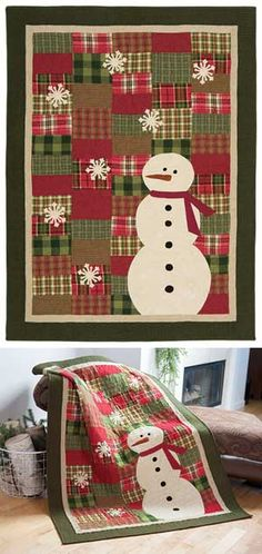 Snowman Quilt- Could add buttons to the snowflakes.