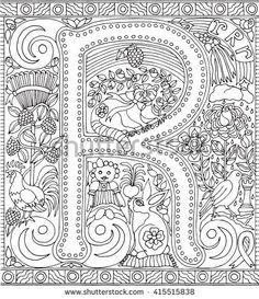 Alphabet Letter K Adult Coloring Book Page