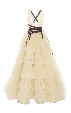 V-neck tiered skirt ball gown by Carolina Herrera