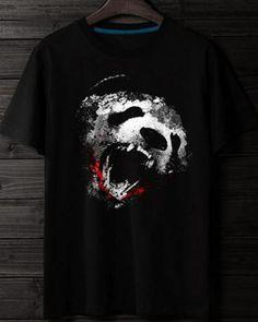 Bloody panda t shirt for men plus size black animal t shirts