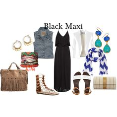 """Ways to Wear A Black Maxi Dress"" by thirtysomethingfashion on Polyvore"