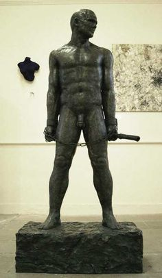 Cold cast iron / bronze Nudes/ Male sculpture by artist Steve Lincoln Hubber titled: 'A Prometheus Bound' #sculpture #art