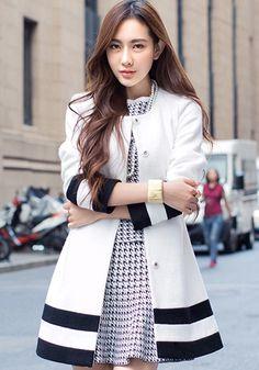 White-Black Striped Belt Wool Coat