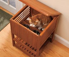 Keep the Dog Out of the Cat Food!  Tiered Cat Feeding Station. Well thats cool. I wonder if i could cannibalize a side table into this...