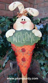 #600 Bunny Welcome (Pattern Packet)  www.plumpurdy.com