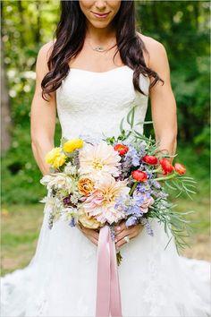 lush ribbon tied bouquet