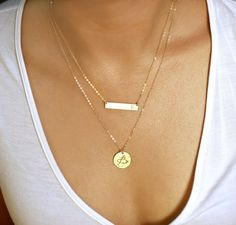 Layering Necklace, Gold Bar Necklace, Name Plate Necklace, Hammered Disc Necklace, Personalized Nameplate Necklace, Layered Necklace Set