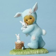 New Enesco Cherished Teddies Figurine, Bear Dressed as Bunny