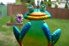 "21"" Blue Frog Fusion and Metal Wind Chime"