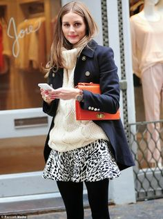 Olivia Palermo Zara Leopard Skirt With Dark Blue Coat --- the orange clutch complete the look!