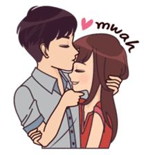 Cute, funny, lovely couple sticker for those who in love Cute Love Stories, Cute Love Pictures, Cute Cartoon Pictures, Cute Love Gif, Love Cartoon Couple, Cute Love Couple, Anime Love Couple, Love Drawings, Couple Drawings