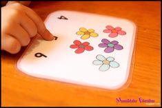 Cartas para contar autocorrectivas con pinzas de tender
