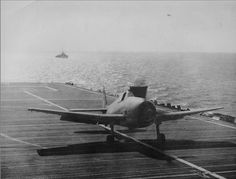 A Grumman Hellcat of 800 Squadron taking off from HMS Shah without the aid of the ships catapult HMS Shah was a Ruler-class escort carrier in the Royal Navy. Her duties were chiefly convoy defence and trade protection against German U-boats operating in the Indian Ocean with a shore base at Trincomalee. #HMSShah #HMSShahD21 #aircraftCarrier #escortCarrier #royalnavy #GrummanHellcat #Hellcat #fighter