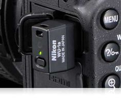 Nikon D7100 close up shot with the WU-1a wireless mobile adapter in place