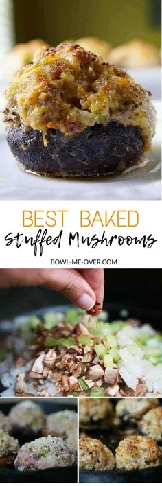 Need an easy appetizer or delicious side dish? Baked Stuffed Mushrooms - Golden brown and savory this is an easy recipe and so delicious! Delectable, creamy and a little bit spicy these mushrooms are mouthwatering and loaded with flavor! Stuffed mushrooms can be used as an appetizer or main course! via @bowlmeover