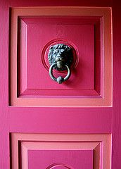 pink door with lion knocker