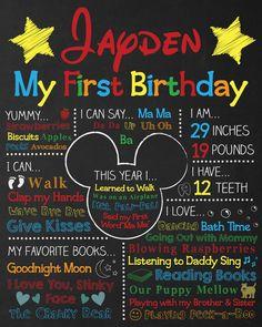 Mickey Mouse První narozeniny Tabule Mickey by ChalkyPrints