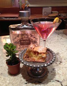 Burdick's Rhubarb Martini (Rhubarb Liqueur, Grey Goose Vodka) and Rhubarb tart...