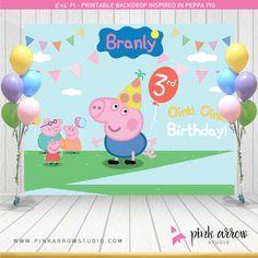 Peppa pig cumpleaños Backdrop de George por PinkArrowStudio