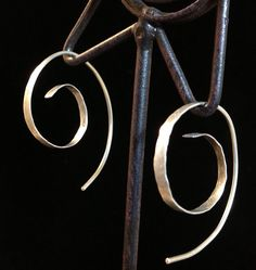 Rustic 925 Sterling Silver Spiral Hoops, boho, handmade earrings, hammered and textured, free shipping on Etsy, $28.00
