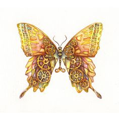Steampunk Butterfly Original Painting 12x9 ❤ liked on Polyvore featuring home…