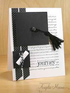 Memory Box journey stamp - handmade graduation card: Graduation Journey by Arizona Maine .luv the cute details and artistic look . mortar board hat with tassel . graduation certificate rolled up and tied with twine . black and white . Cards Ideas, Diy Cards, Graduation Cards Handmade, Greeting Cards Handmade, Congratulations Graduate, Copics, Masculine Cards, Creative Cards, Scrapbook Cards