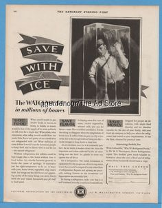 1928 Ice delivery man Iceman Watchword in Millions of Homes vintage print ad