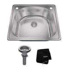 Drop-In Stainless Steel 25 in. 2-Hole Single Bowl Kitchen Sink Kit