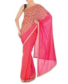 Coral Red and Pink Sari with Leafy Applique - Saris - Apparel