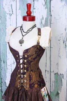 Waist 40-42 Bust 46-49 Purple and Gold Medallion Crossfire Corset  by Damsel in this Dress
