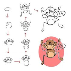 Follow step by step to draw this cute monkey