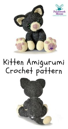 Crochet Toys Ideas Cute little amigurumi kitten pattern, easy instructions. Crochet Cross, Love Crochet, Diy Crochet, Crochet Dolls, Crochet Flower, Irish Crochet, Crochet Ideas, Easy Sewing Projects, Crochet Projects