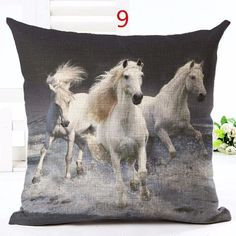 FILLED Galloping Horses Cushion Covers Tapestry Fabric High Quality 18x18/""