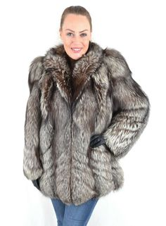 US2940 AMAZING SILVER FOX FUR JACKET FOX COAT SIZE XL - CLASS OF BLUE FOX #FurFashioninGermany #FurJacket #Casual