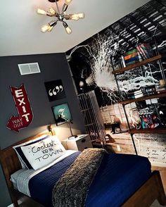 Teen boy industrial bedroom.