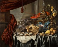 Opulent Still-Life with Silver and Gilt Metal Objects, Nautilus Shell, Porcelain, Food and Other Motifs on a Draped Table
