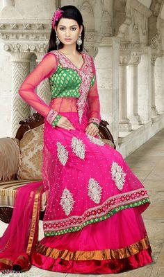 Exotic Plus Size Net Pink Long Choli Skirt Dress Price: Usa Dollar $453, British UK Pound £265, Euro332, Canada CA$487 , Indian Rs24462.